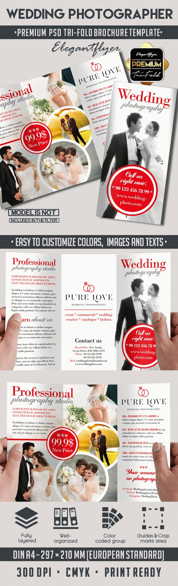 Wedding Photography – Premium Tri-Fold PSD Brochure Template