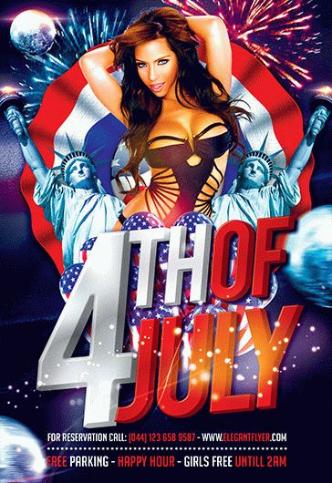 4th of July Celebration – Flyer PSD Template + Facebook Cover