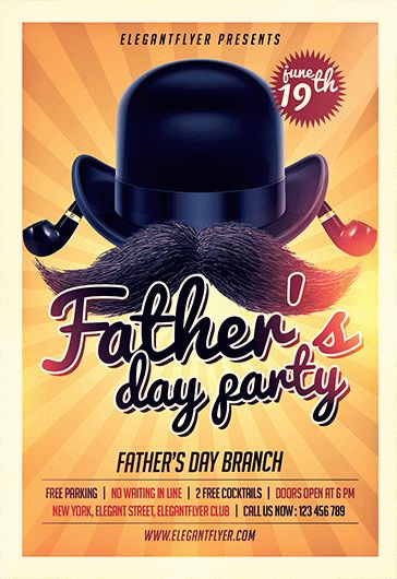 fathers day party  u2013 free flyer psd template  u2013 by elegantflyer