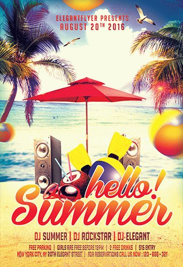 Hello Summer Party PSD Flyer