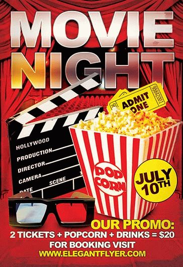 Movie Night  Flyer Psd Template  Facebook Cover  By Elegantflyer