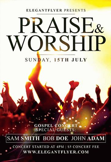 Praise And Worship – Flyer PSD Template + Facebook Cover