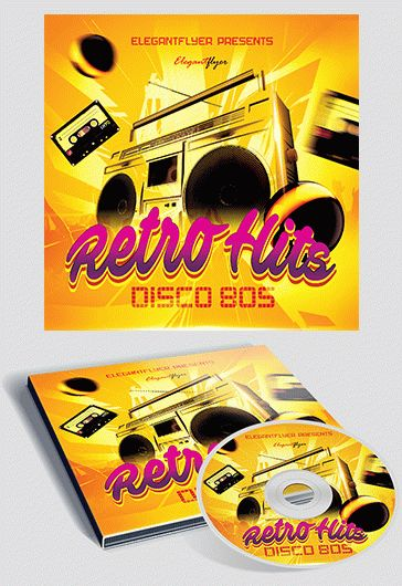 Retro Hits – Free CD Cover PSD Template