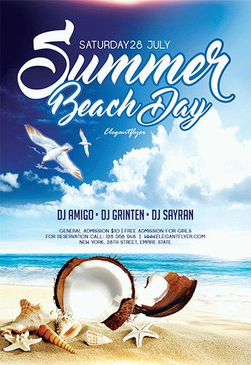Summer Beach Day – Free Flyer PSD Template