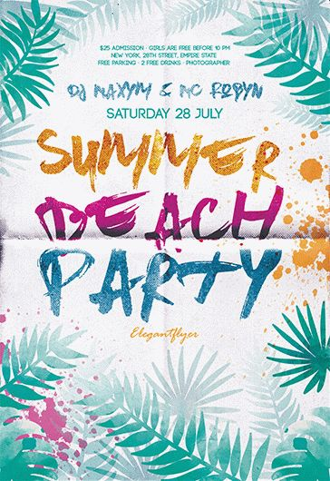 Summer Beach Party V  Flyer Psd Template  Facebook Cover  By