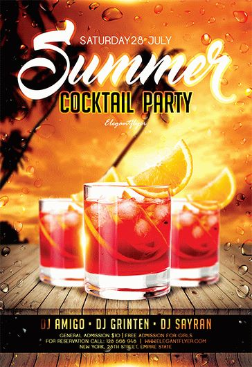 Summer Cocktail Party – Free Flyer PSD Template