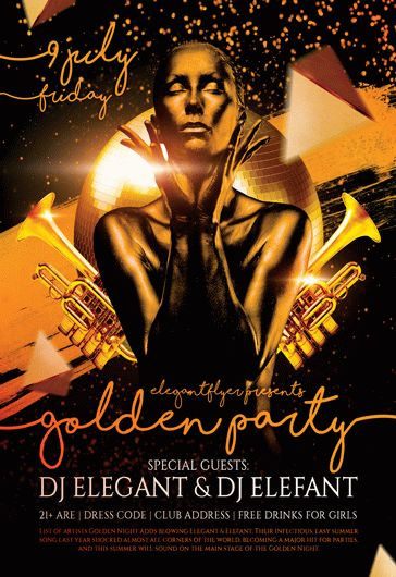 Golden Party – Flyer PSD Template + Facebook Cover