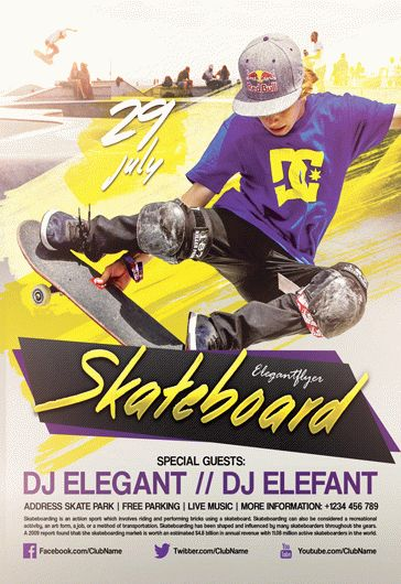 skateboard  u2013 flyer psd template  u2013 by elegantflyer