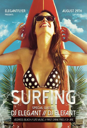 Surfing – Free Flyer PSD Template