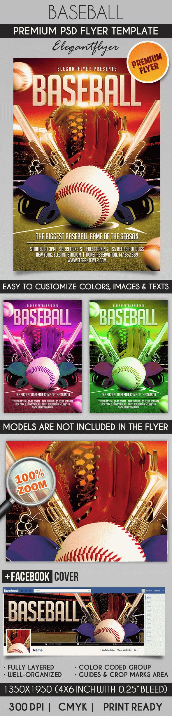 Baseball Flyer PSD Template Facebook Cover by ElegantFlyer – Baseball Flyer