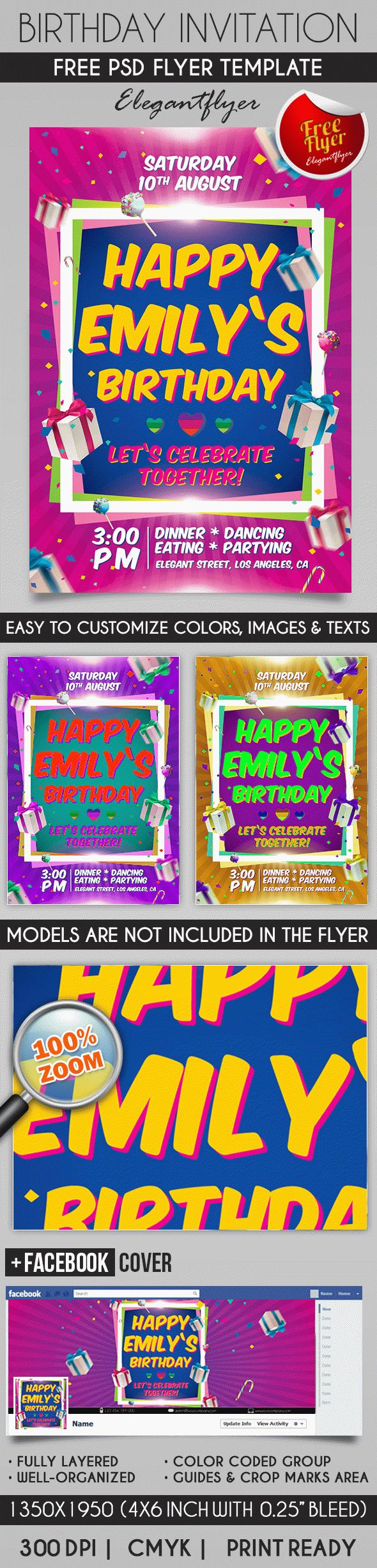 Birthday Party Invitation – Flyer PSD Template – by ElegantFlyer