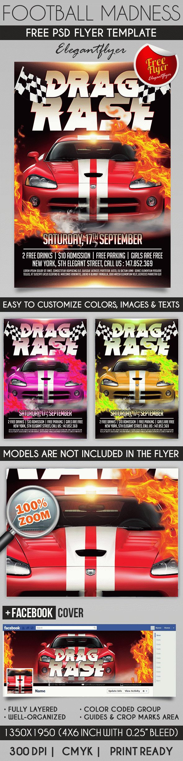 drag race flyer psd template by elegantflyer