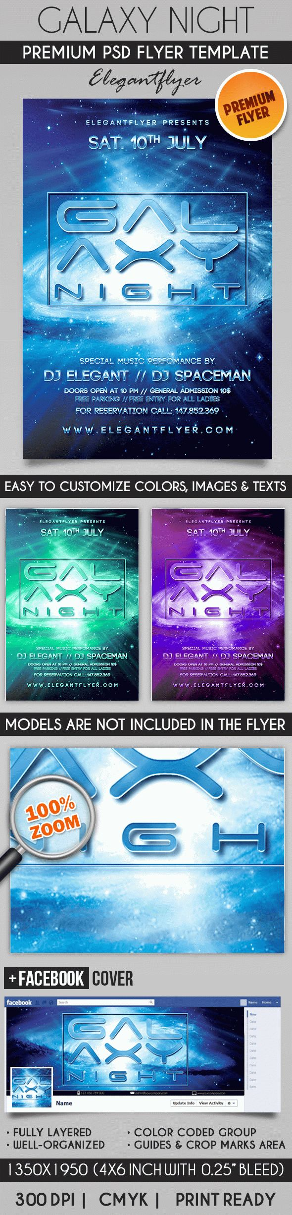 Galaxy Night – Flyer PSD Template + Facebook Cover