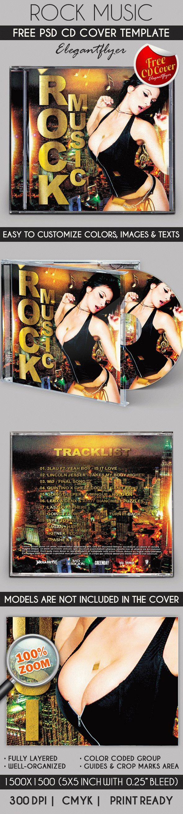 Rock Star – Free CD Cover PSD Template