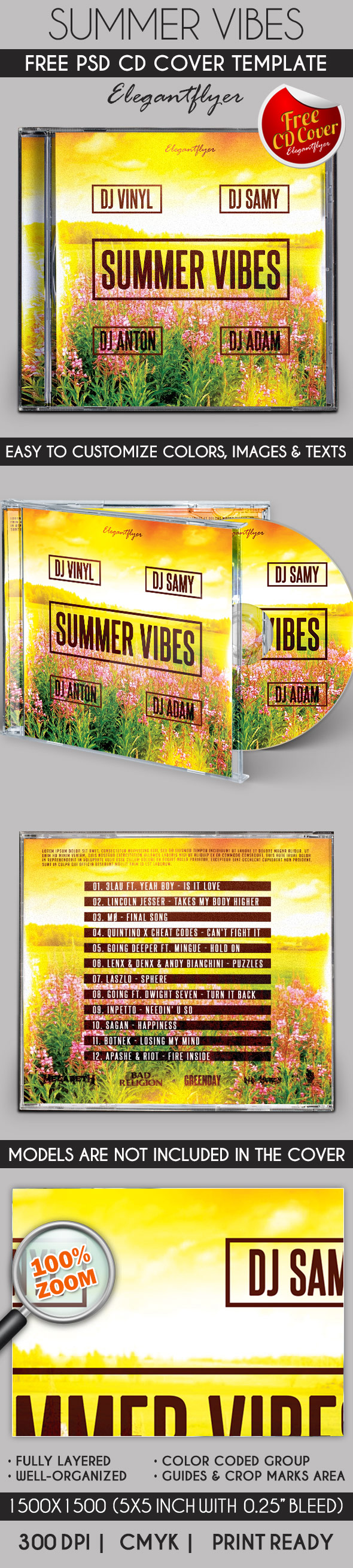 Summer Vibes Free CD template