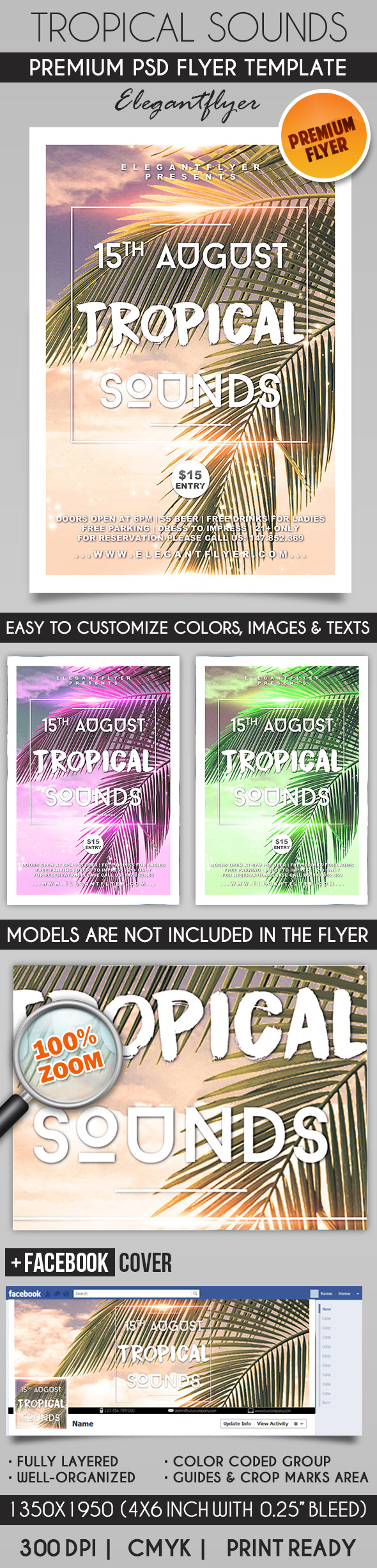 Tropical Sounds – Flyer PSD Template + Facebook Cover