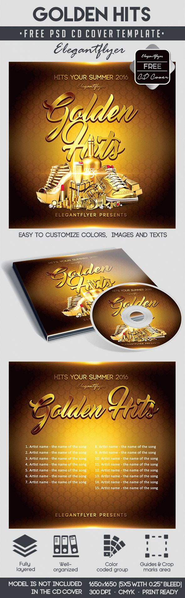 Golden Hits – Free CD Cover PSD Template
