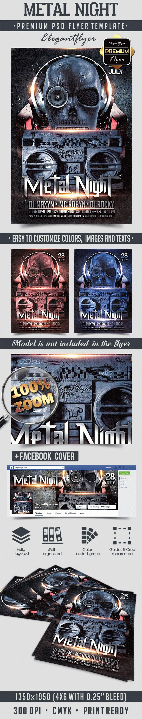 Metal Night – Flyer PSD Template + Facebook Cover