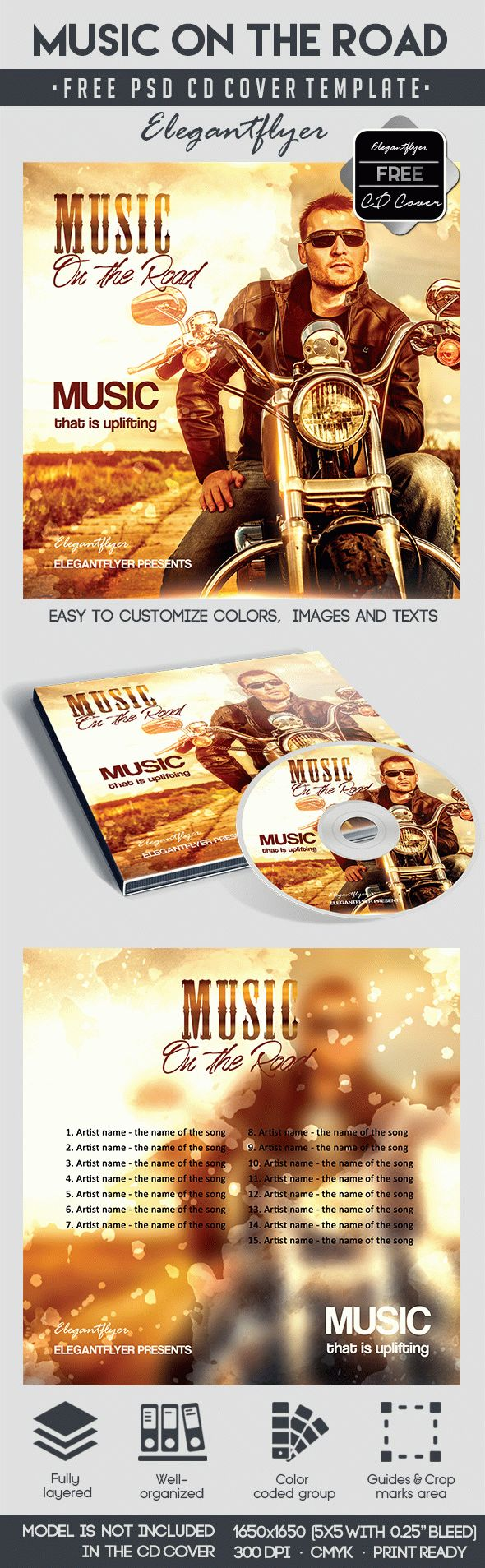 Music on the Road – Free CD Cover PSD Template