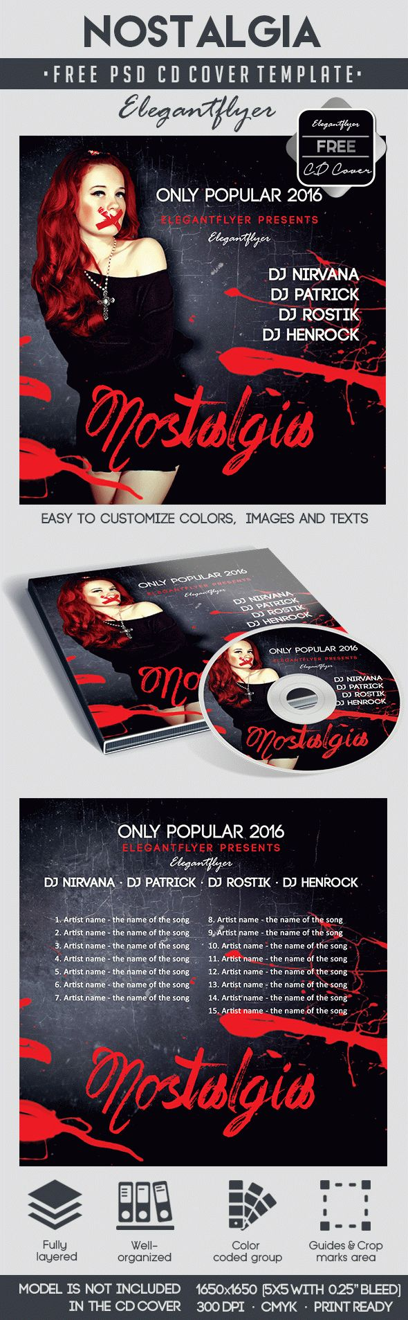 Nostalgia – Free CD Cover PSD Template