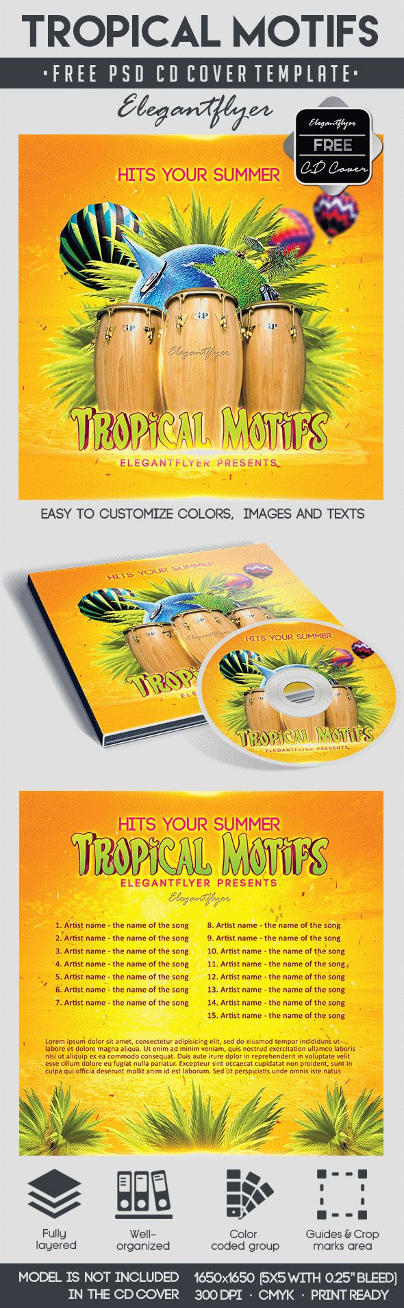 Tropical Motifs – Free CD Cover PSD Template