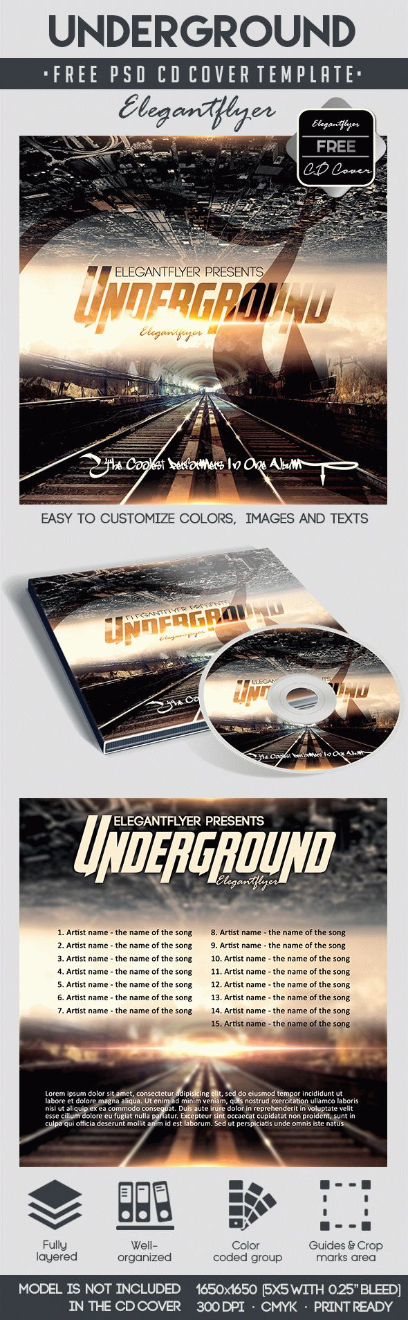 Underground – Free CD Cover PSD Template