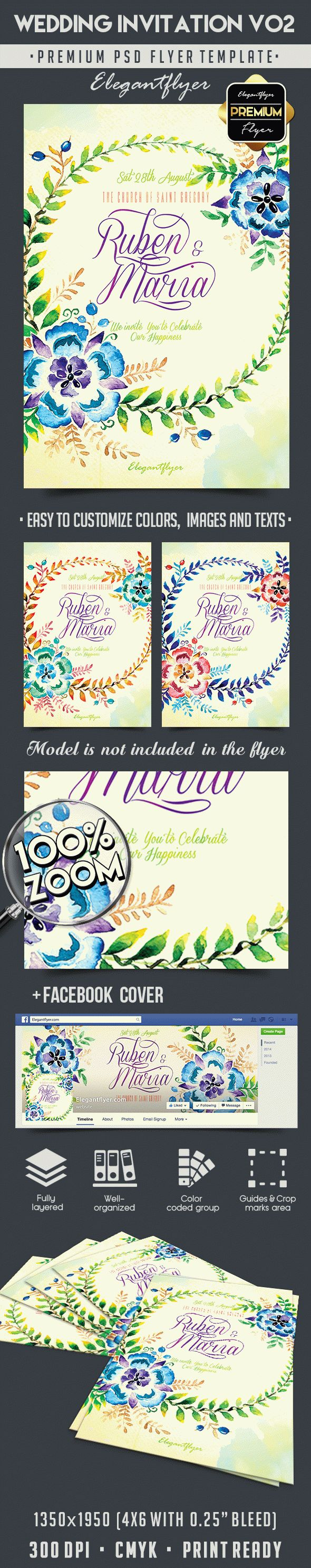 Wedding Invitation V02 – Flyer PSD Template + Facebook Cover