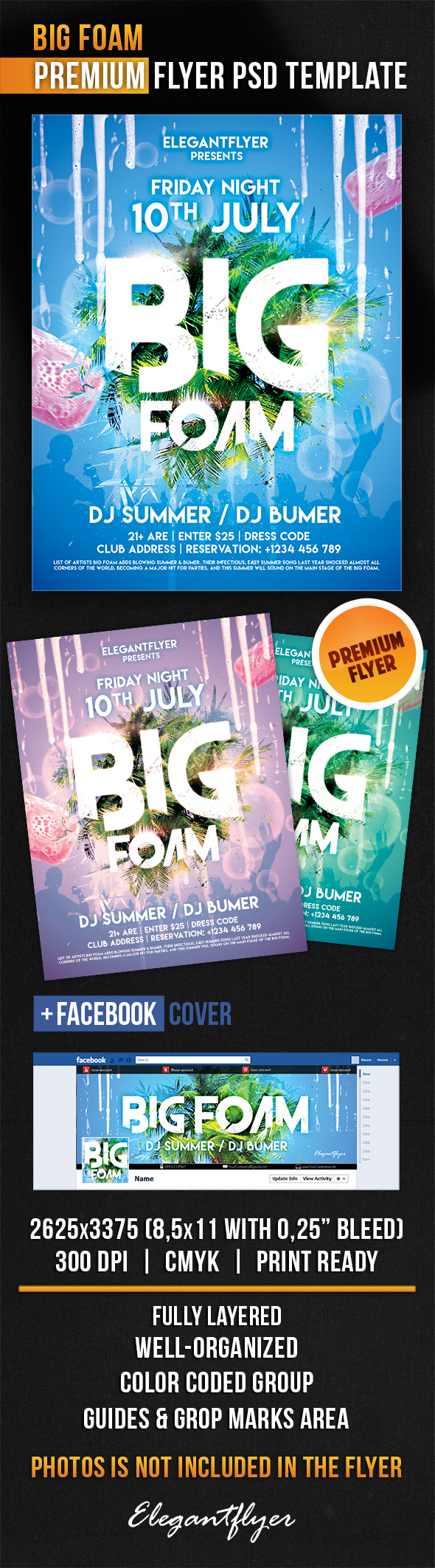 Big Foam – Flyer PSD Template + Facebook Cover