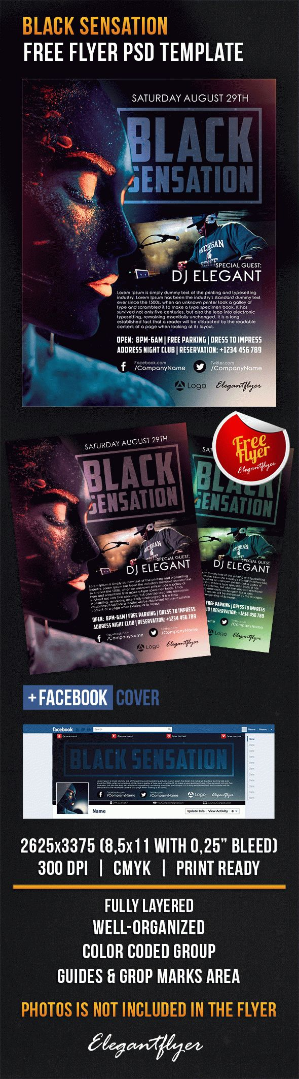 Black Sensation – Free Flyer PSD Template + Facebook Cover