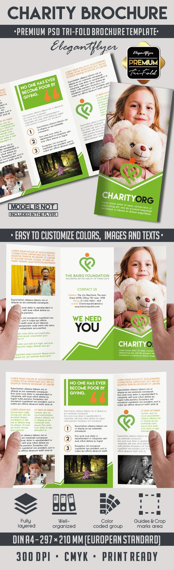 premium brochure templates - charity tri fold brochure template by elegantflyer