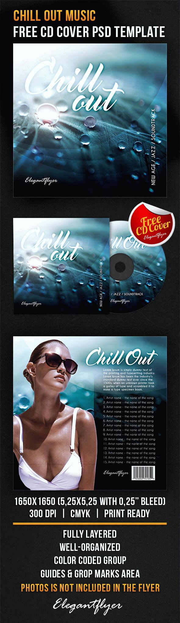 Chill Out Music – Free CD Cover PSD Template