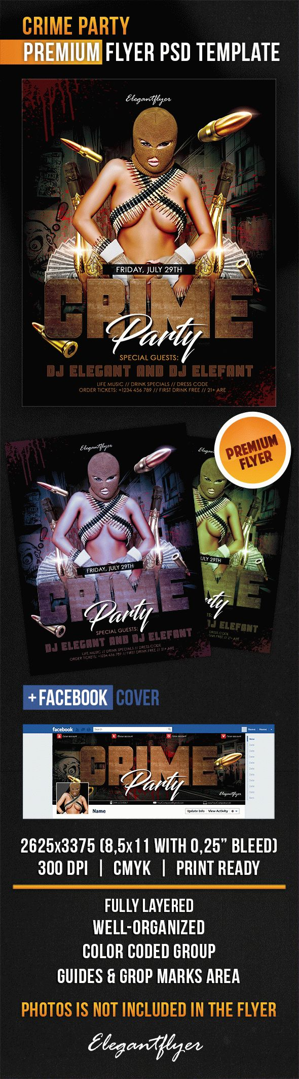Crime Party – Flyer PSD Template + Facebook Cover