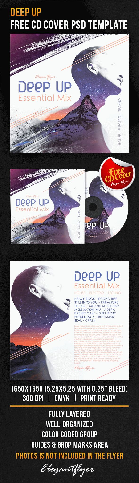 Deep Up – Free CD Cover PSD Template