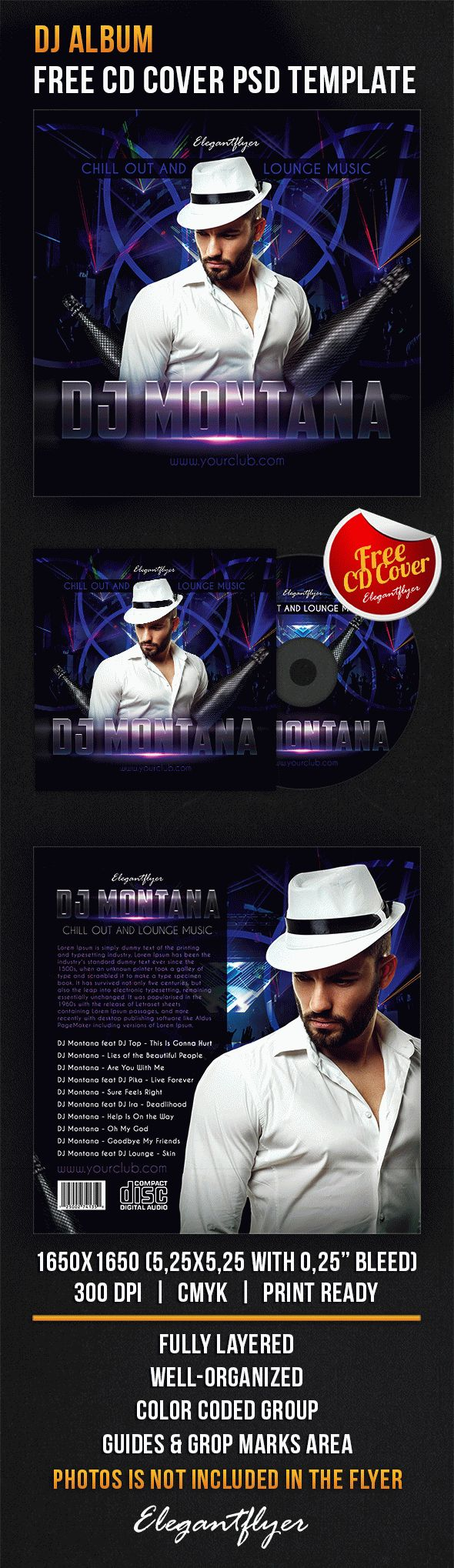 DJ Album – Free CD Cover PSD Template