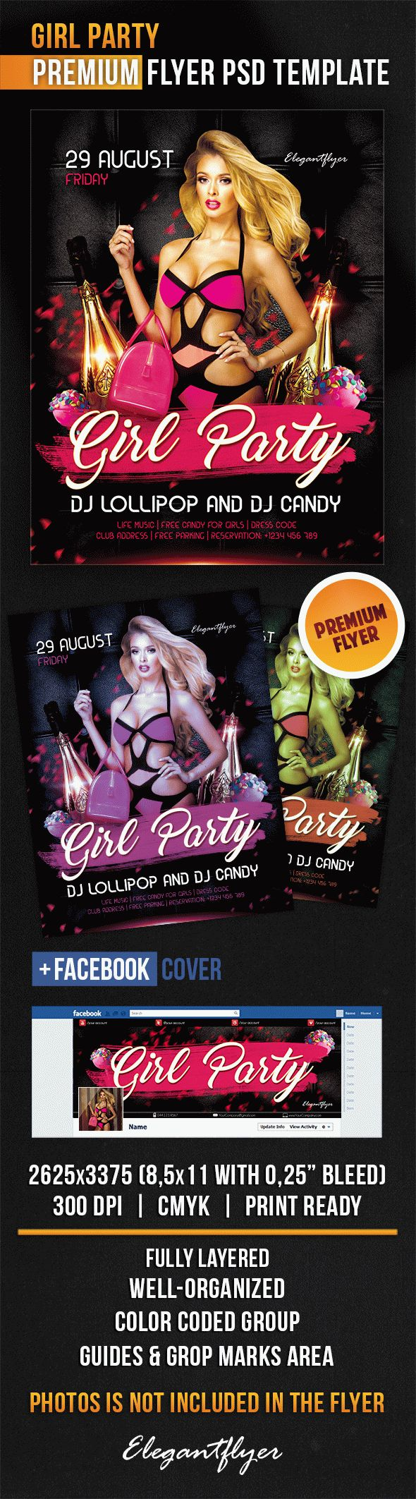 Girl Party – Flyer PSD Template