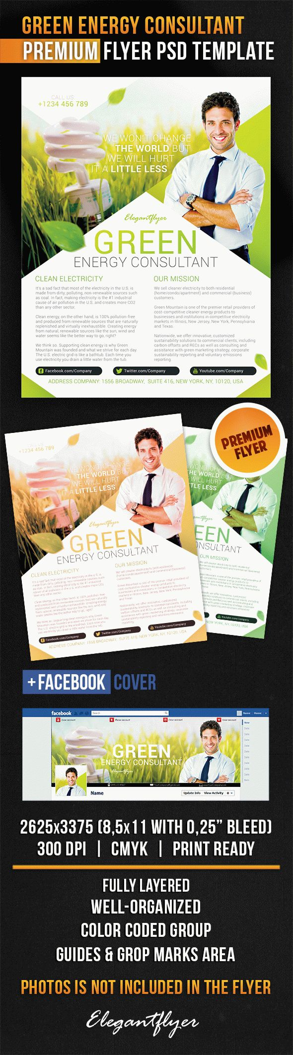 Green Energy Consultant – Flyer PSD Template + Facebook Cover
