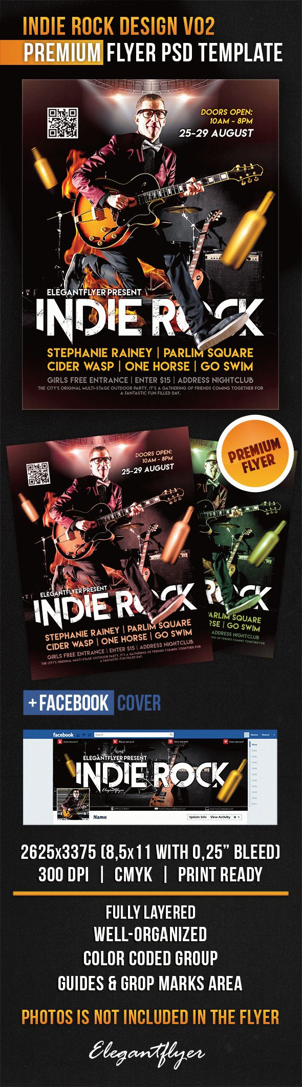 Indie Rock Design V02 – Flyer PSD Template + Facebook Cover