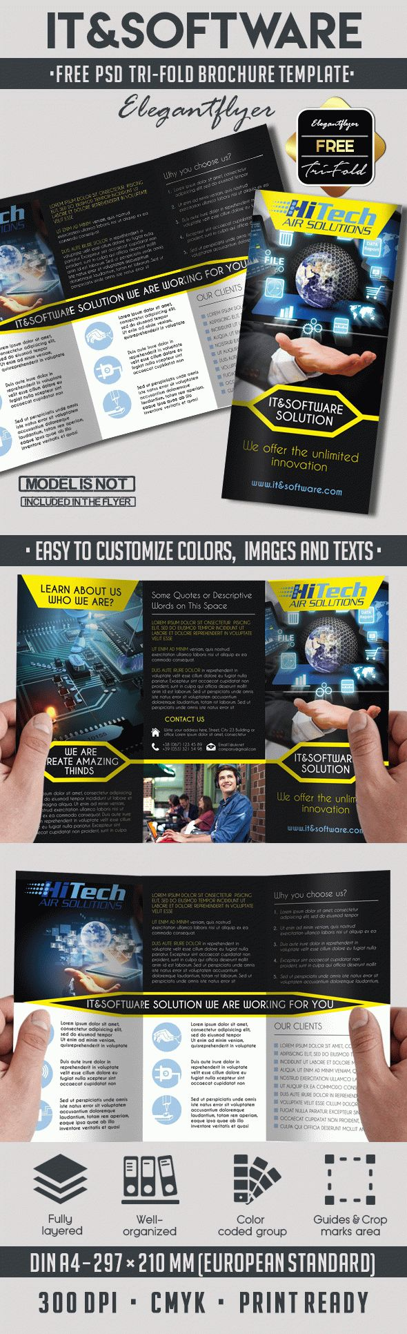 psd tri fold brochure template free it and software tri fold brochure by elegantflyer