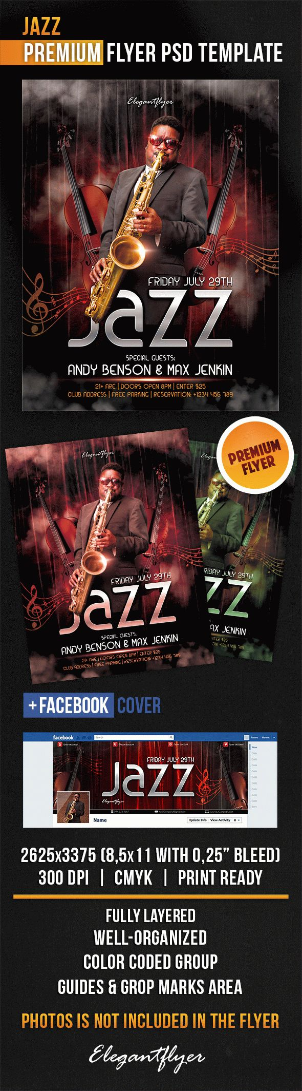 Jazz – Flyer PSD Template + Facebook Cover