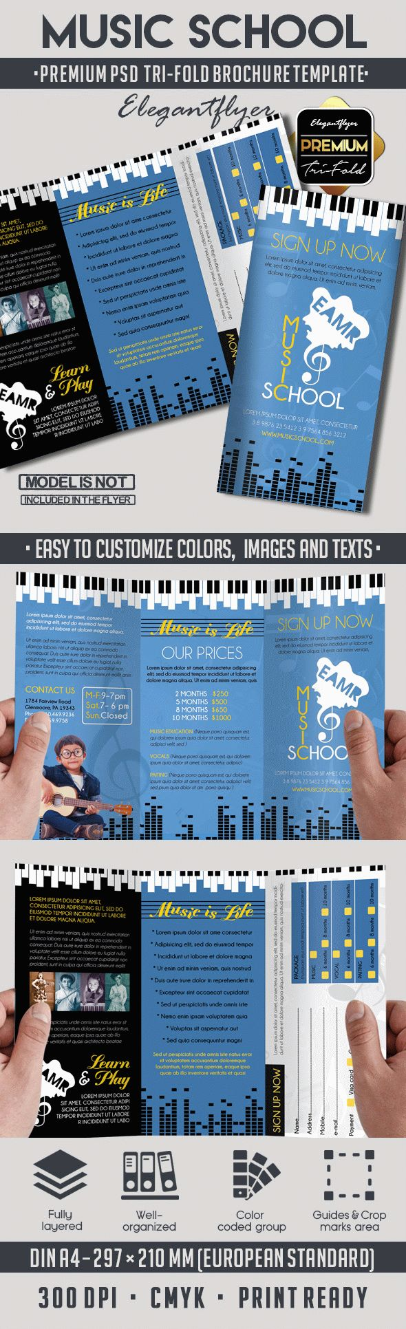 Tri fold brochure for music school by elegantflyer for Music brochure templates