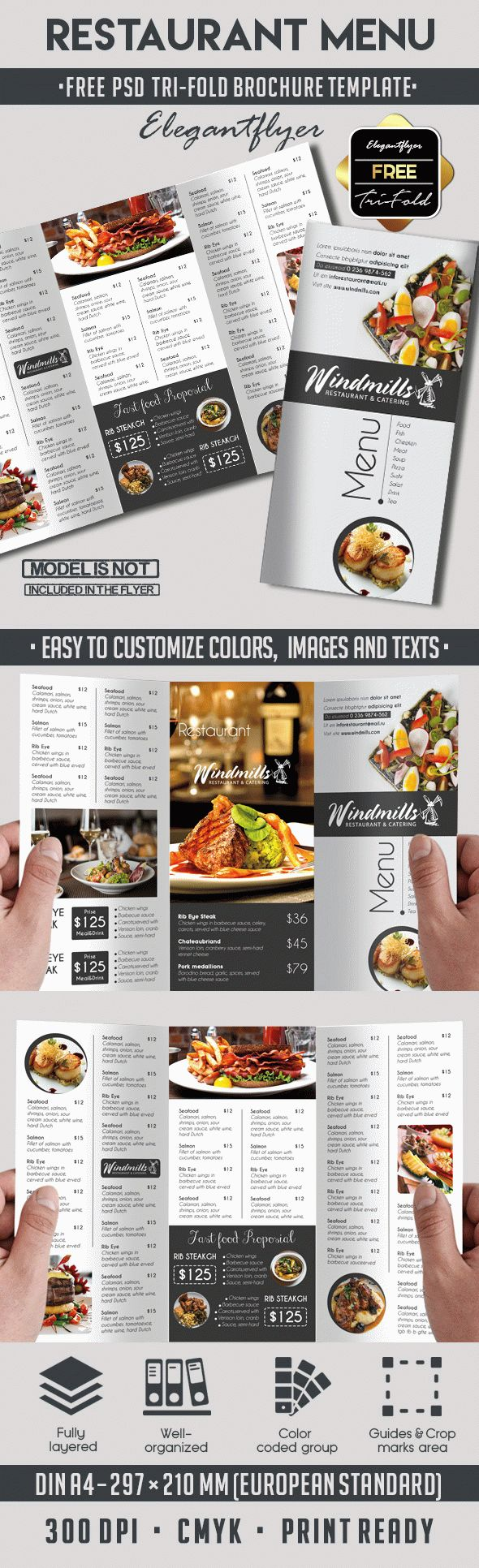Restaurant menu free template by elegantflyer for Templates for restaurant menus