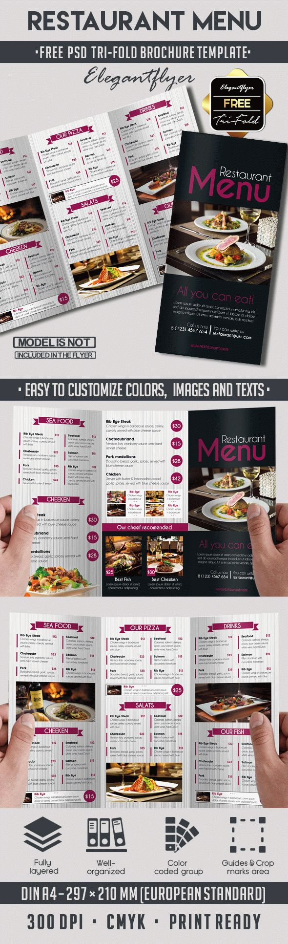 tri fold brochure template psd free - template brochure for restaurant by elegantflyer