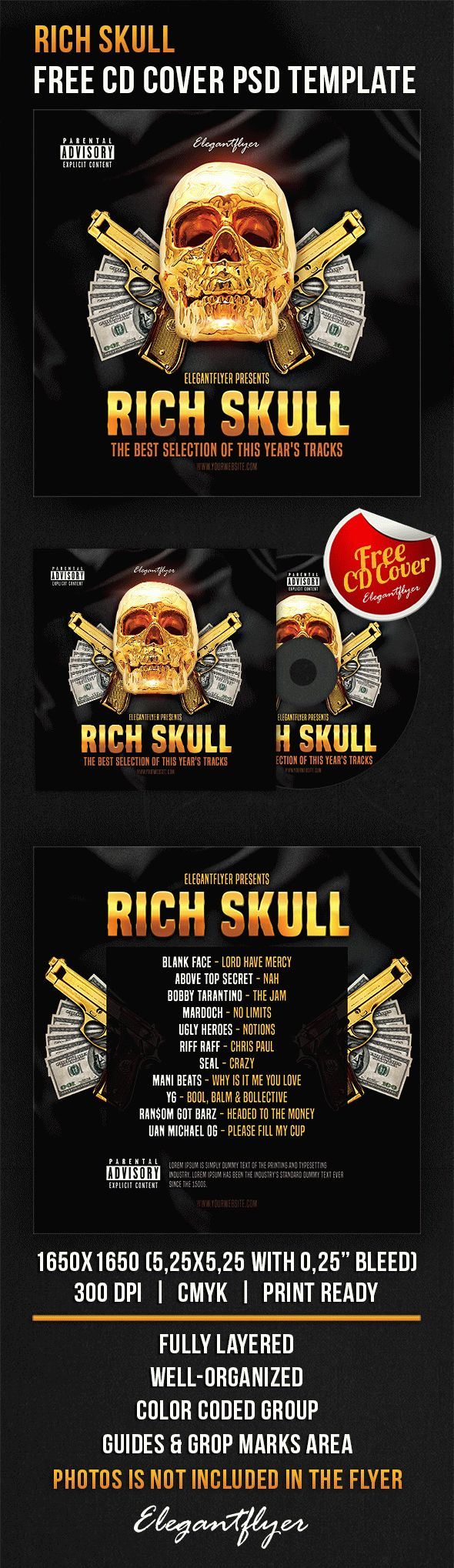 Rich Skull – Free CD Cover PSD Template