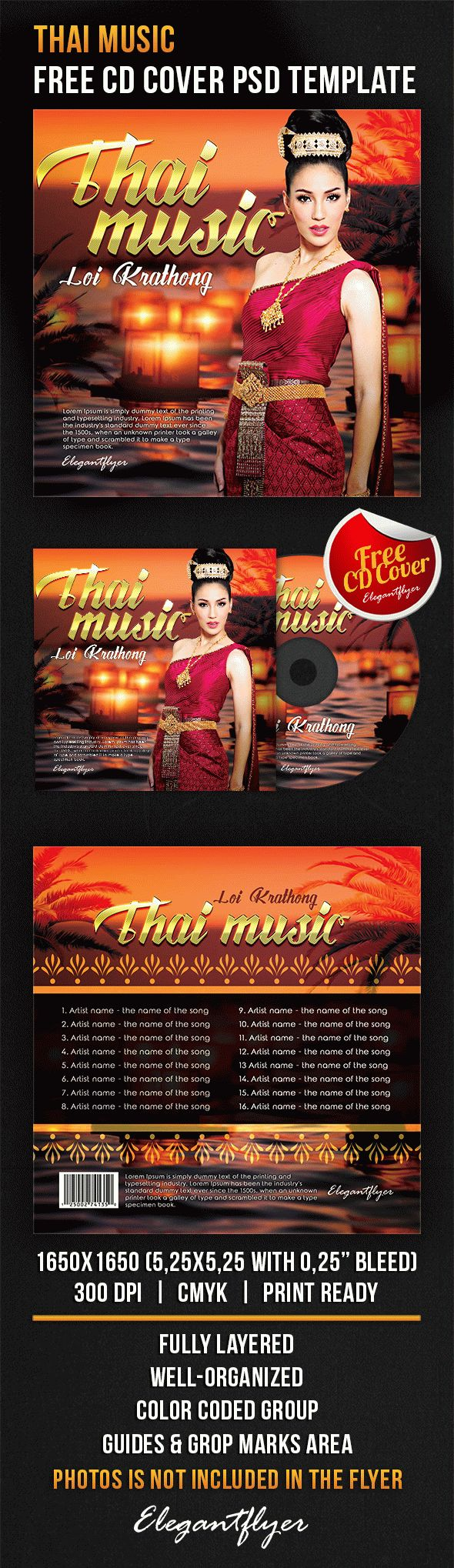 Thai Music – Free CD Cover PSD Template