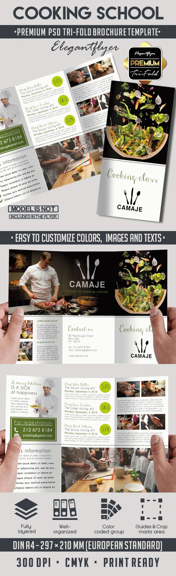 The cooking school – Premium Tri-Fold PSD Brochure Template