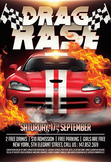 Drag Race – Flyer PSD Template + Facebook Cover