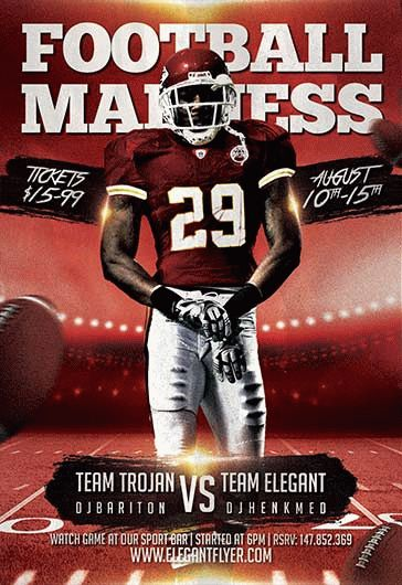 Football Madness – Flyer PSD Template + Facebook Cover