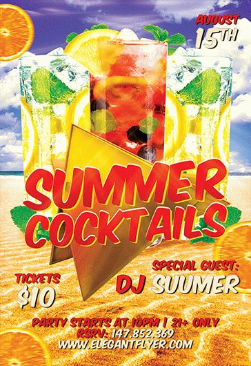 Flyer Template for Summer Cocktails Theme