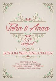 Vintage Wedding Invitation – Flyer PSD Template + Facebook Cover