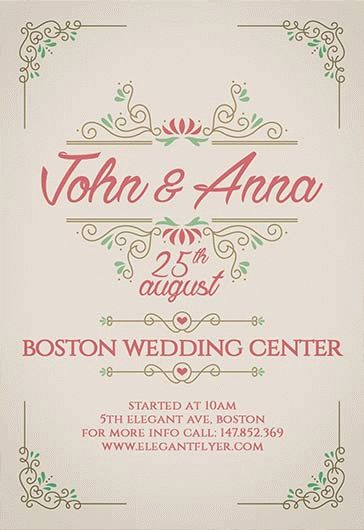 Vintage Wedding Invitation – Flyer PSD Template